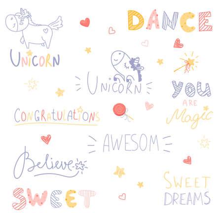 Set of cute cartoon had draw lettering