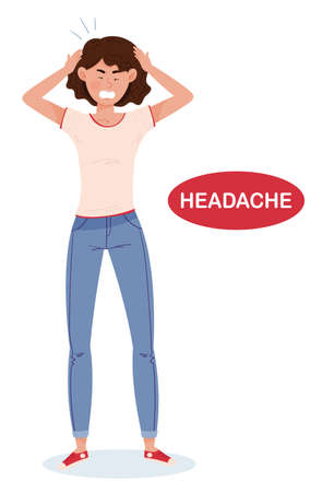 Isolated vector illustration of coronavirus symptoms. A girl in full growth shows one of the possible signs of infection with the COVID-19 virus - Headache. Color illustration drawn in cartoon and flat style.