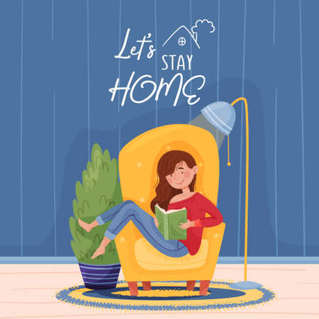 Girl in blue jeans, a red sweater is sitting on a yellow armchair and reading a green book, near a blue lamp, a blue and yellow carpet and a tree. Blue wall background and wooden floor. Caption let's stay home