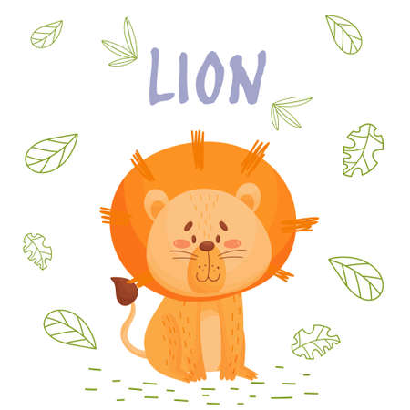 Poster with cute cartoon lion in jungle. Element for print, postcard and t-shirt isolate on white background. Vector illustration