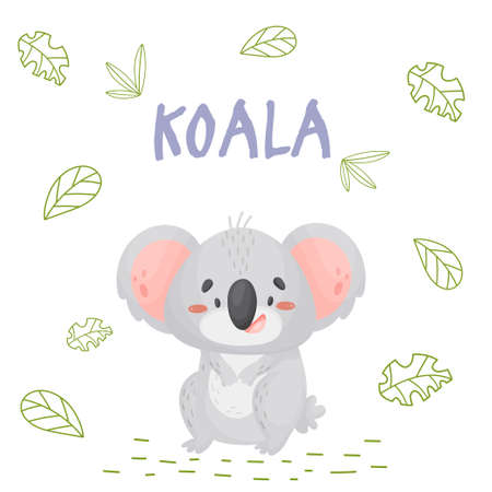Poster with cute cartoon koala in jungle. Element for print, postcard and t-shirt isolate on white background. Vector illustration