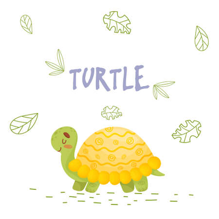 Poster with cute cartoon turtle in jungle. Element for print, postcard and t-shirt isolate on white background. Vector illustration