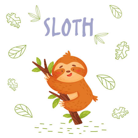 Poster with cute cartoon sloth in jungle. Element for print, postcard and t-shirt isolate on white background. Vector illustration