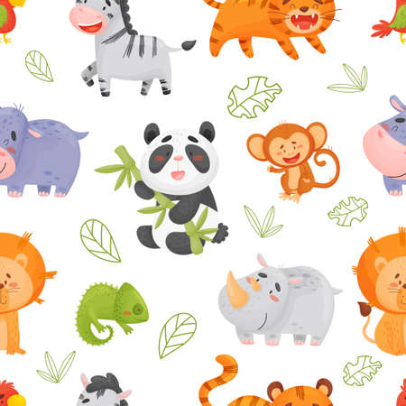 Color vector seamless pattern with cute tropical animals.