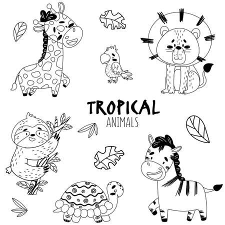 Black and white set cute tropical animals isolated background. On the picture there is a giraffe, a parrot, a lion, a zebra, a turtle, a sloth. Stylized inscription and sketch of tree leaves