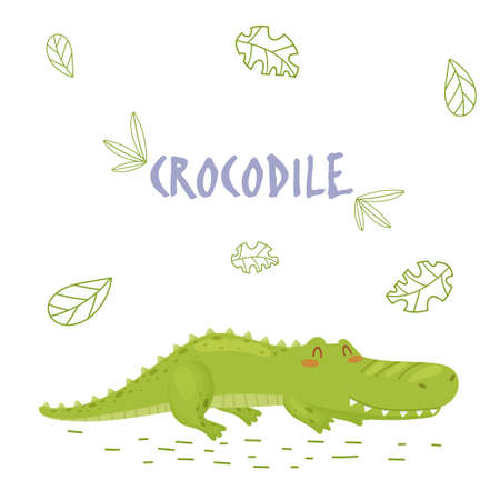 Poster with cute cartoon crocodile in jungle. Element for print, postcard and t-shirt isolate on white background. Vector illustration Çizim