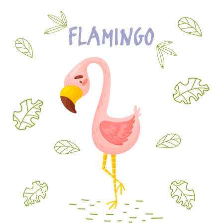 Poster with cute cartoon flamingo in jungle. Element for print, postcard and t-shirt isolate on white background. Vector illustration