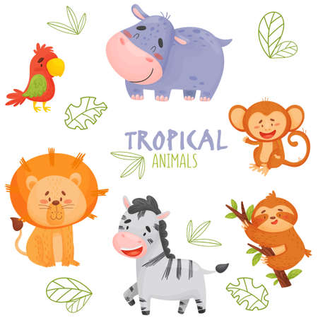 Set of cute cartoon tropical animals in jungle. Element for print, postcard and poster isolate in white background. Vector illustration