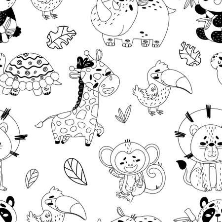 Black and white vector seamless pattern with cute tropical animals. The picture shows a panda, toucan, rhino, turtle, giraffe, monkey, lion and sheets of tropical trees on an isolated white background