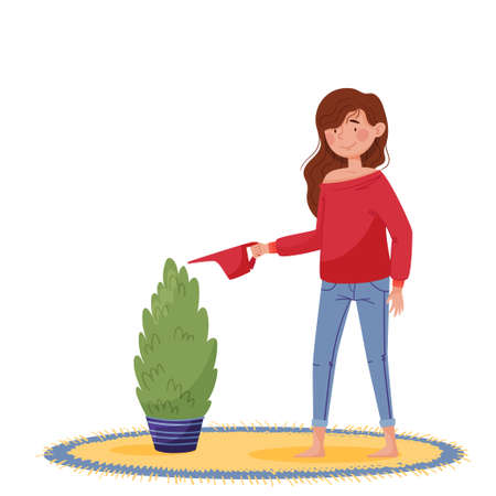 Lettering let's stay home. Girl in red sweater and jeans watering home plant near round carpet and window with yellow curtains. Colorful isolated vector illustration on white background in flat style