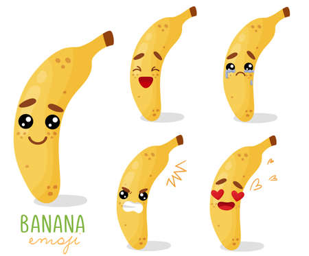 Set of emoji banana with different emotions, smile, laugh, anger, cry, love. An isolated vector illustration with a shadow under each character.