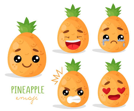 Set of emoji pineapples with different emotions, smile, laugh, anger, cry, love. An isolated vector illustration with a shadow under each character. Çizim