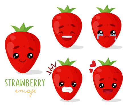 Set of emoji strawberry with different emotions, smile, laugh, anger, cry, love. An isolated vector illustration with a shadow under each character. Çizim