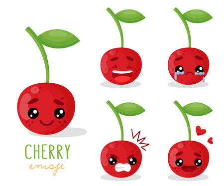 Set of emoji cherry with different emotions, smile, laugh, anger, cry, love. An isolated vector illustration with a shadow under each character.