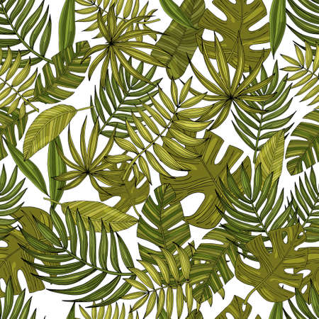 Seamless pattern leaves with many shades of green on a white Vetores