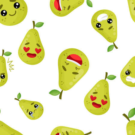 Seamless pattern emoji pear emoticons with different emotions