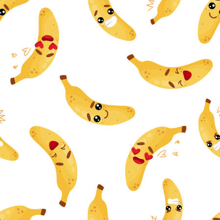 Seamless pattern emoji banana emoticons with different emotions