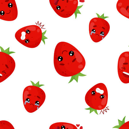 Seamless pattern emoji strawberry emoticons with different emotions Çizim