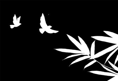 Bird and Bamboo leaf composition in design. Vector romantic landscape with bamboo trees on a white and gray background, and various attractive colors make an exclusive design