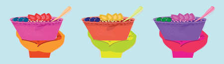 set of delicious and healthy meal of acai cream bowl with strawberry, granola and banana. vector illustration