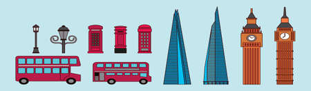 set of london modern cartoon icon design template with various bus and more. vector illustration isolated on blue background 向量圖像