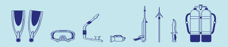 set of spearfishing modern cartoon icon design template with various models. vector illustration isolated on blue background Stock Illustratie