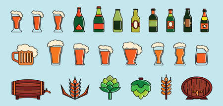 set of beer modern cartoon icon design template with various models for badges and more. vector illustration isolated on blue background