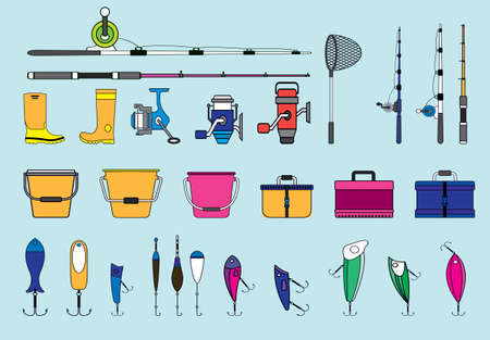 set of fishing element. lure, fish net and more cartoon icon design template with various models. vector illustration isolated on blue background Vettoriali