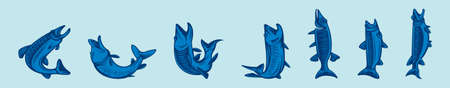 musky tiger musky and northern pike. modern vector illustration of fish predators cartoon icon design on blue background