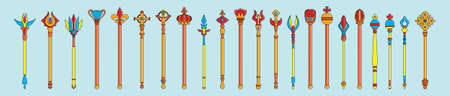 set of scepter. symbol of monarchy modern design template with various models. vector illustration isolated on blue background
