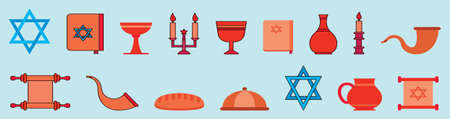 set of shabbat symbol modern cartoon icon design template with various models. vector illustration isolated on blue background