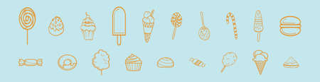 set of sweet foods icon design template with various models. vector illustration isolated on blue background