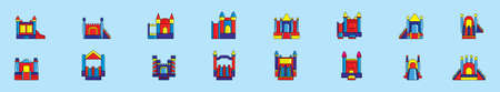 set of bounce house cartoon icon design template with various models. vector illustration isolated on blue background 向量圖像