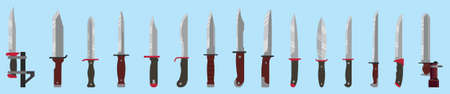 set of bayonet knives for different American rifles. military vector illustration isolated on blue background