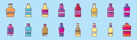 set of broken bottle cartoon icon design template with various models. vector illustration isolated on blue background  イラスト・ベクター素材