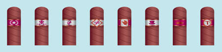 set of cigar with label cartoon icon design template with various models. vector illustration isolated on blue background