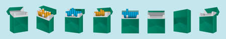 set of cigarettes with packaging cartoon icon design template with various models. vector illustration isolated on blue background