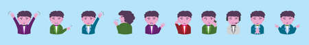set of communication avatar cartoon icon design template with various models. vector illustration isolated on blue background