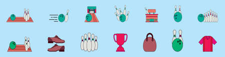 set of bowling cartoon icon design template with various models. vector illustration isolated on blue background 矢量图像