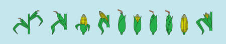 set of corn cartoon icon design template with various models. vector illustration isolated on blue background