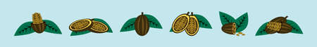 set of cocoa bean cartoon icon design template with various models. vector illustration isolated on blue background Ilustração