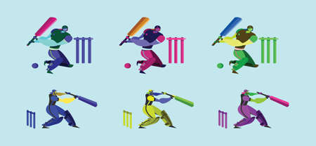 set of batsman cricket player cartoon design template with various models. vector illustration isolated on blue background