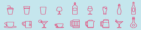 set of wine glass and bottle cartoon icon design template with various models. vector illustration isolated on blue background