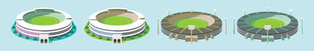 set of cricket stadium cartoon icon design template with various models. vector illustration isolated on blue background