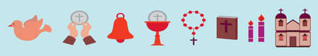 set of eucharist cartoon icon design template with various model. vector illustration isolated on blue background