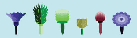 set of feather duster cartoon icon design template with various models. vector illustration isolated on blue background