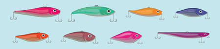 Set of fishing lure cartoon icon design template with various models. vector illustration isolated on blue background