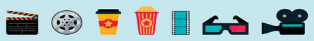 set of cinema cartoon icon design template with various models. vector illustration isolated on blue background