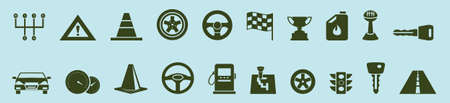 set of car parts cartoon icon design template with various models. vector illustration isolated on blue background