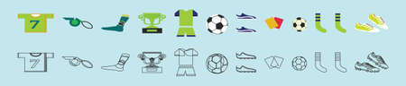 set of football sports cartoon icon design template with various models. vector illustration isolated on blue background  イラスト・ベクター素材